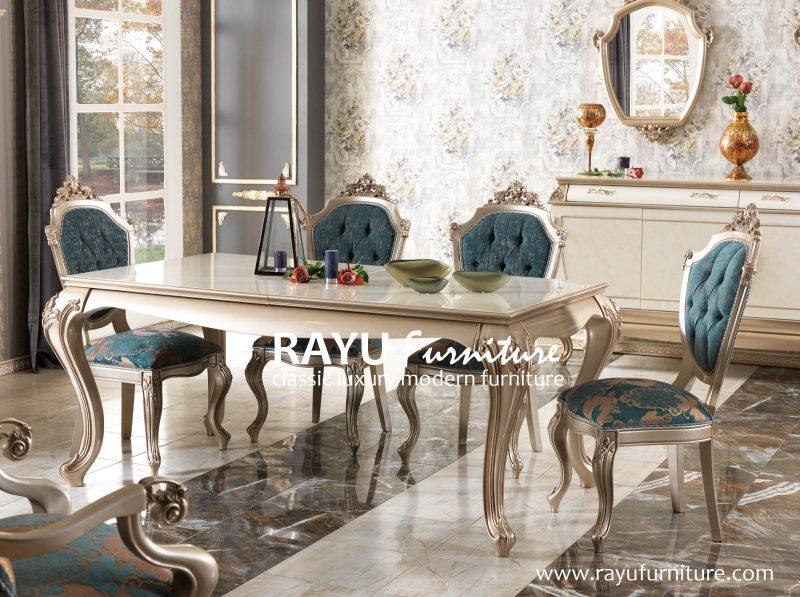Set Meja Makan Ukir Modern di